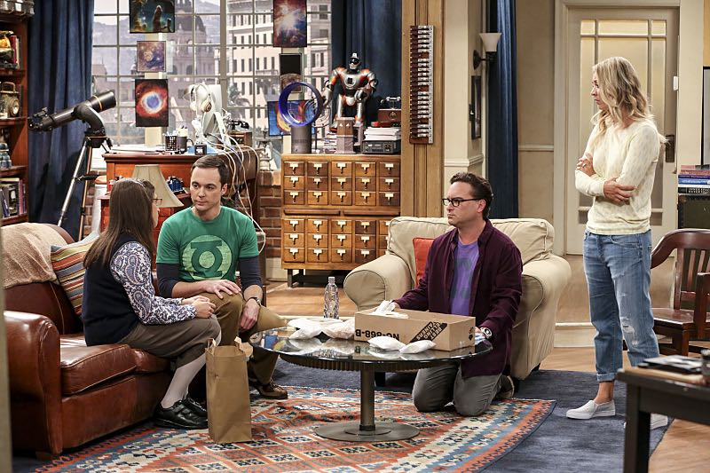 """The Cohabitation Experimentation"" -- Pictured: Amy Farrah Fowler (Mayim Bialik) and Sheldon Cooper (Jim Parsons), Leonard Hofstadter (Johnny Galecki) and Penny (Kaley Cuoco). When Amy's apartment floods, she proposes a ""cohabitation experiment"" with Sheldon. Also, Howard and Bernadette are upset when Koothrappali learns the gender of the baby before them, on THE BIG BANG THEORY, Monday, Oct. 10 (8:00-8:31 PM, ET/PT), on the CBS Television Network. Photo: Michael Yarish/Warner Bros. Entertainment Inc. © 2016 WBEI. All rights reserved."