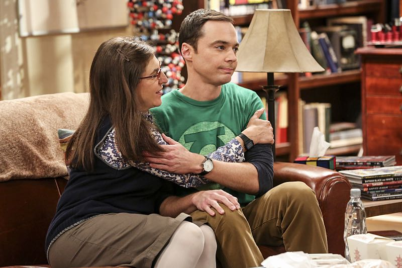 """The Cohabitation Experimentation"" -- Pictured: Amy Farrah Fowler (Mayim Bialik) and Sheldon Cooper (Jim Parsons). When Amy's apartment floods, she proposes a ""cohabitation experiment"" with Sheldon. Also, Howard and Bernadette are upset when Koothrappali learns the gender of the baby before them, on THE BIG BANG THEORY, Monday, Oct. 10 (8:00-8:31 PM, ET/PT), on the CBS Television Network. Photo: Michael Yarish/Warner Bros. Entertainment Inc. © 2016 WBEI. All rights reserved."
