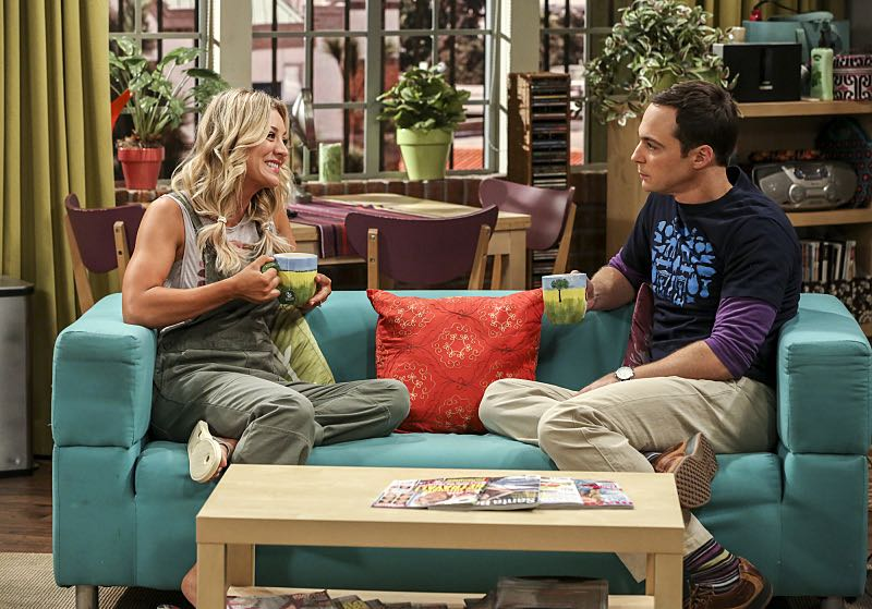 """The Cohabitation Experimentation"" -- Pictured: Penny (Kaley Cuoco) and Sheldon Cooper (Jim Parsons). When Amy's apartment floods, she proposes a ""cohabitation experiment"" with Sheldon. Also, Howard and Bernadette are upset when Koothrappali learns the gender of the baby before them, on THE BIG BANG THEORY, Monday, Oct. 10 (8:00-8:31 PM, ET/PT), on the CBS Television Network. Photo: Michael Yarish/Warner Bros. Entertainment Inc. © 2016 WBEI. All rights reserved."