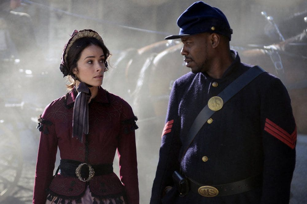 "TIMELESS -- ""The Assassination of Abraham Lincoln"" Episode 101 -- Pictured: (l-r) Abigail Spencer as Lucy Preston, Malcolm Barrett as Rufus Carlin -- (Photo by: Sergei Bachlakov/NBC)"
