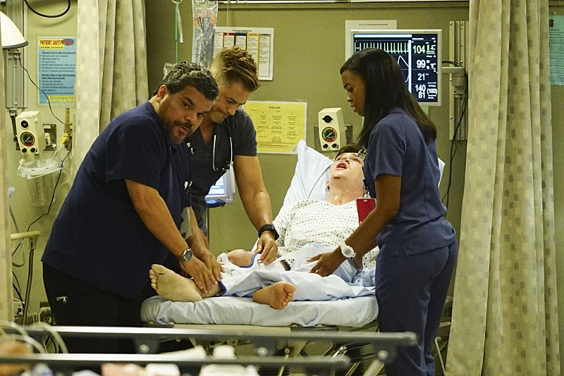 """Life and Limb"" -- Willis must help a promising young soccer player make a life-altering decision after he's seriously injured when a bus carrying his entire team crashes, and another patient's hesitation to share that she's transgender makes it difficult for the doctors to diagnose her severe abdominal pain, on CODE BLACK, Wednesday, Oct. 5 (10:00-11:00PM, ET/PT), on the CBS Television Network. Pictured: Luis Guzmán (Jesse Sallander), Rob Lowe (Col. Ethan Willis), Nafessa Williams (Dr. Charlotte Piel) Photo: Sonja Flemming/CBS ©2016 CBS Broadcasting, Inc. All Rights Reserved"