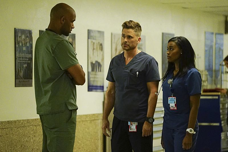 """Life and Limb"" -- Willis must help a promising young soccer player make a life-altering decision after he's seriously injured when a bus carrying his entire team crashes, and another patient's hesitation to share that she's transgender makes it difficult for the doctors to diagnose her severe abdominal pain, on CODE BLACK, Wednesday, Oct. 5 (10:00-11:00PM, ET/PT), on the CBS Television Network. Pictured: Boris Kodjoe (Dr. Will Campbell), Rob Lowe (Col. Ethan Willis), Nafessa Williams (Dr. Chrlotte Piel) Photo: Richard Cartwright/CBS ©2016 CBS Broadcasting, Inc. All Rights Reserved"