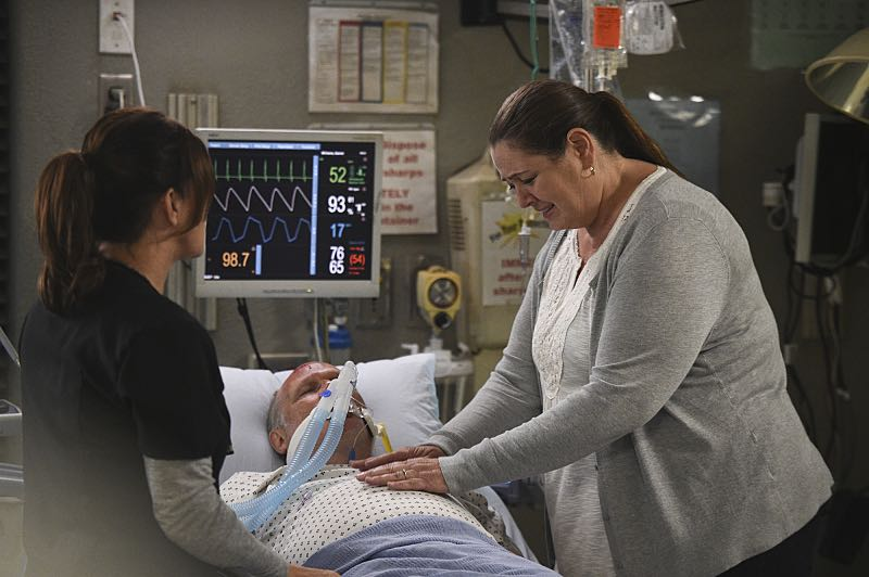 """Life and Limb"" -- Willis must help a promising young soccer player make a life-altering decision after he's seriously injured when a bus carrying his entire team crashes, and another patient's hesitation to share that she's transgender makes it difficult for the doctors to diagnose her severe abdominal pain, on CODE BLACK, Wednesday, Oct. 5 (10:00-11:00PM, ET/PT), on the CBS Television Network. Pictured: Marcia Gay Harden (Dr. Leanne Rorish), Camryn Manheim (Alice) Photo: Ron P. Jaffe/CBS ©2016 CBS Broadcasting, Inc. All Rights Reserved"