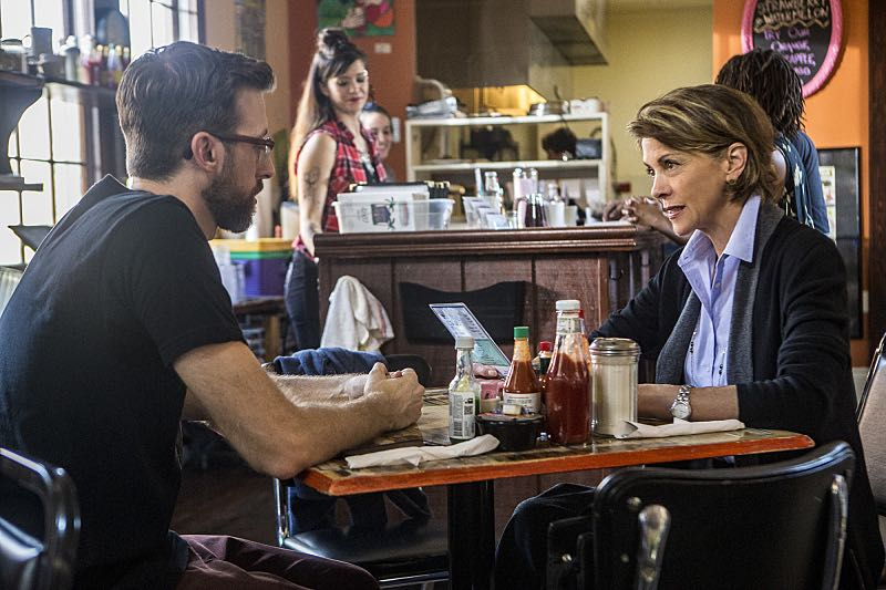 """""""Escape Plan"""" -- The NCIS team must rescue one of their own after Sebastian is kidnapped while at a restaurant with his mother, Sylvia Lund, and forced to use his gaming skills in a prison break, on NCIS: New Orleans, Tuesday, Oct. 18 (10:00-11:00, ET/PT), on the CBS Television Network. Pictured L-R: Rob Kerkovich as Sebastian Lund and Wendie Malick as Sylvia Lund Photo: Skip Bolen/CBS ©2016 CBS Broadcasting, Inc. All Rights Reserved"""