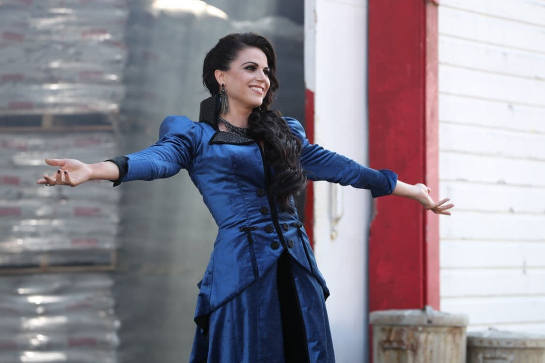 "ONCE UPON A TIME - ""The Other Shoe"" - As Storybrooke continues to welcome the new arrivals from the Land of Untold Stories, families, friends and even long-lost enemies are reunited once again. When Ashley (Cinderella) searches for her step-family, intent on settling their unfinished business, Emma, Hook and Henry scramble to help her before it's too late. Meanwhile, Regina attempts to bribe Mr. Hyde for information about how to defeat the Evil Queen and Snow helps Dr. Jekyll find a suitable laboratory for his work. David makes a deal with Gold and delivers a message to Belle in exchange for new information about his father. In flashback, Cinderella attends a ball and meets her prince on ""Once Upon a Time,"" SUNDAY, OCTOBER 9 (8:00-9:00 p.m. EDT), on the ABC Television Network. (ABC/Jack Rowand) LANA PARRILLA"