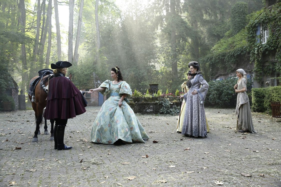 "ONCE UPON A TIME - ""The Other Shoe"" - As Storybrooke continues to welcome the new arrivals from the Land of Untold Stories, families, friends and even long-lost enemies are reunited once again. When Ashley (Cinderella) searches for her step-family, intent on settling their unfinished business, Emma, Hook and Henry scramble to help her before it's too late. Meanwhile, Regina attempts to bribe Mr. Hyde for information about how to defeat the Evil Queen and Snow helps Dr. Jekyll find a suitable laboratory for his work. David makes a deal with Gold and delivers a message to Belle in exchange for new information about his father. In flashback, Cinderella attends a ball and meets her prince on ""Once Upon a Time,"" SUNDAY, OCTOBER 9 (8:00-9:00 p.m. EDT), on the ABC Television Network. (ABC/Jack Rowand) MAX LLYOYD-JONES, MEKENNA MELVIN, LISA BANES, GOLDIE HOFFMAN, JESSY SCHRAM"