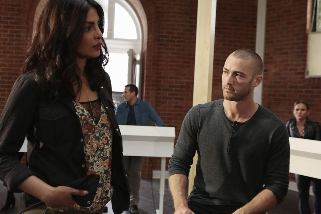 """QUANTICO - """"Stescalade"""" - The new CIA recruits continue training at The Farm focusing on assessment, while in the future, Alex goes undercover to infiltrate the terrorist group holding everyone hostage where she is shocked to discover not everyone is a stranger on """"Quantico,"""" airing SUNDAY, OCTOBER 16 (10:00-11:00 p.m. EDT), on the ABC Television Network. (ABC/Giovanni Rufino) PRIYANKA CHOPRA, JAKE MCLAUGHLIN"""
