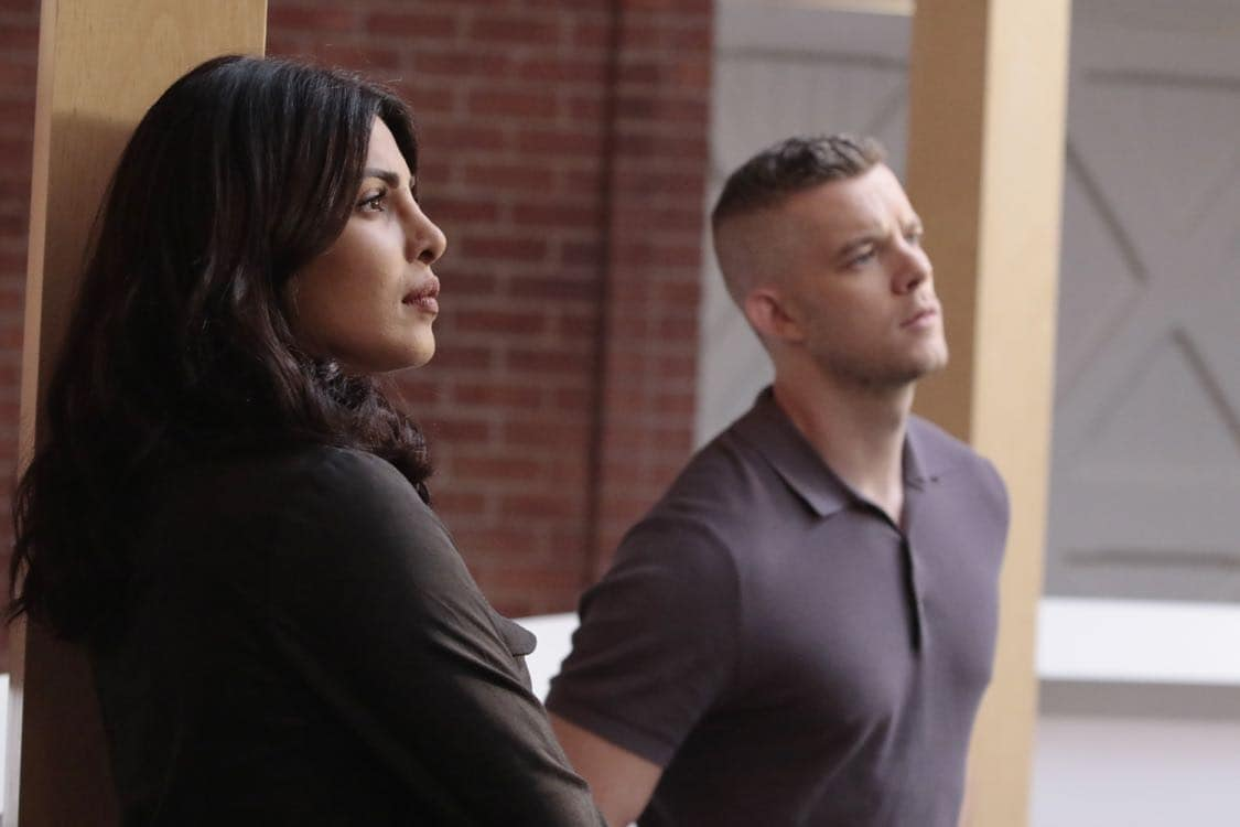 "QUANTICO - ""Stescalade"" - The new CIA recruits continue training at The Farm focusing on assessment, while in the future, Alex goes undercover to infiltrate the terrorist group holding everyone hostage where she is shocked to discover not everyone is a stranger on ""Quantico,"" airing SUNDAY, OCTOBER 16 (10:00-11:00 p.m. EDT), on the ABC Television Network. (ABC/Giovanni Rufino) PRIYANKA CHOPRA, RUSSELL TOVEY"