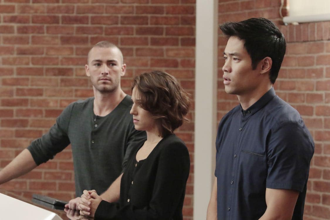 """QUANTICO - """"Stescalade"""" - The new CIA recruits continue training at The Farm focusing on assessment, while in the future, Alex goes undercover to infiltrate the terrorist group holding everyone hostage where she is shocked to discover not everyone is a stranger on """"Quantico,"""" airing SUNDAY, OCTOBER 16 (10:00-11:00 p.m. EDT), on the ABC Television Network. (ABC/Giovanni Rufino) JAKE MCLAUGHLIN, DAVID LIM"""