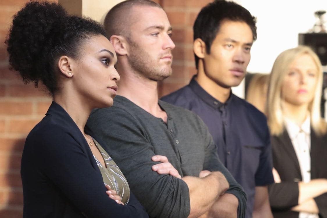 """QUANTICO - """"Stescalade"""" - The new CIA recruits continue training at The Farm focusing on assessment, while in the future, Alex goes undercover to infiltrate the terrorist group holding everyone hostage where she is shocked to discover not everyone is a stranger on """"Quantico,"""" airing SUNDAY, OCTOBER 16 (10:00-11:00 p.m. EDT), on the ABC Television Network. (ABC/Giovanni Rufino) PEARL THUSI, JAKE MCLAUGHLIN, DAVID LIM, HELENE YORKE"""