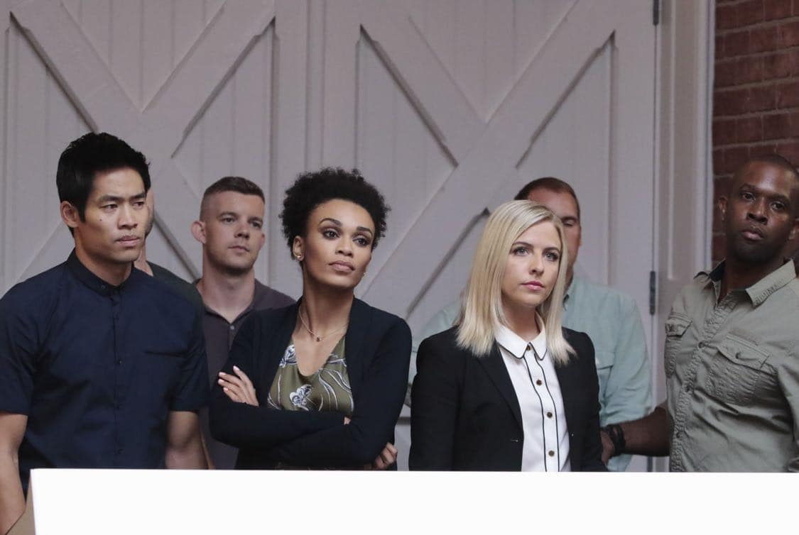 """QUANTICO - """"Stescalade"""" - The new CIA recruits continue training at The Farm focusing on assessment, while in the future, Alex goes undercover to infiltrate the terrorist group holding everyone hostage where she is shocked to discover not everyone is a stranger on """"Quantico,"""" airing SUNDAY, OCTOBER 16 (10:00-11:00 p.m. EDT), on the ABC Television Network. (ABC/Giovanni Rufino) DAVID LIM, RUSSELL TOVEY, PEARL THUSI, HELENE YORKE"""