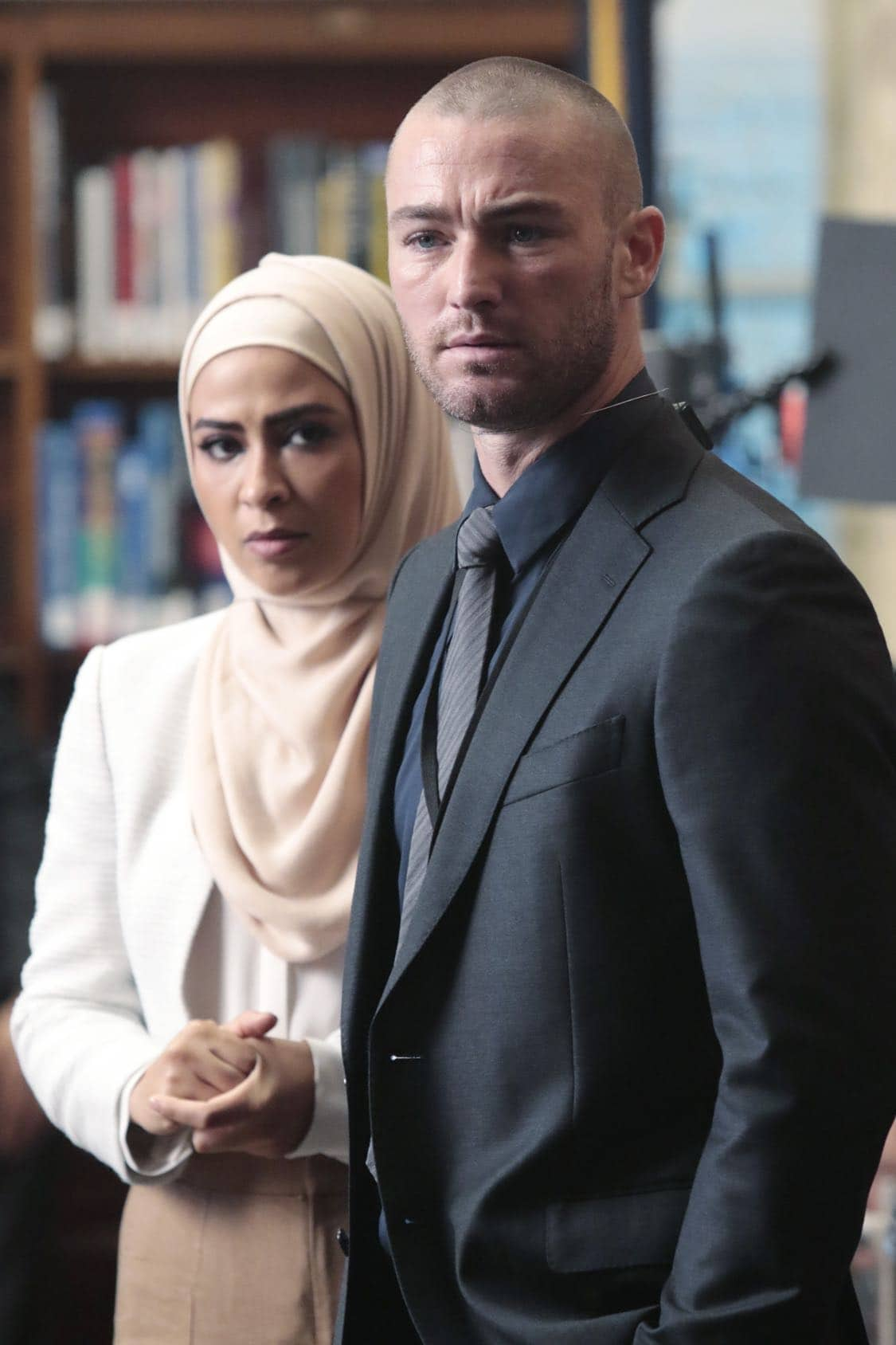 "QUANTICO - ""Stescalade"" - The new CIA recruits continue training at The Farm focusing on assessment, while in the future, Alex goes undercover to infiltrate the terrorist group holding everyone hostage where she is shocked to discover not everyone is a stranger on ""Quantico,"" airing SUNDAY, OCTOBER 16 (10:00-11:00 p.m. EDT), on the ABC Television Network. (ABC/Giovanni Rufino) YASMINE AL MASSRI, JAKE MCLAUGHLIN"