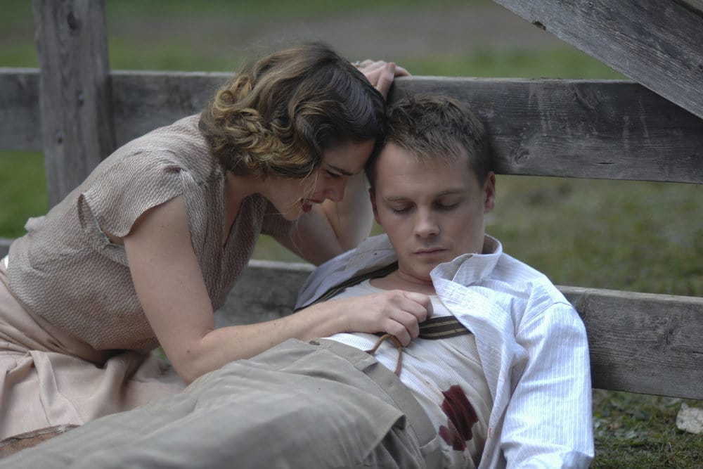 "TIMELESS -- ""Last Ride of Bonnie & Clyde"" Episode 108 -- Pictured: (l-r) Jacqueline Byers as Bonnie Parker, Sam Strike as Clyde Barrow -- (Photo by: Sergei Bachlakov/NBC)"