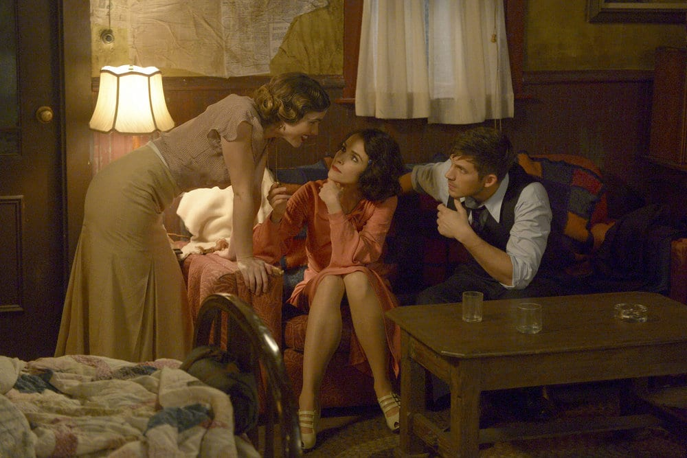 "TIMELESS -- ""Last Ride of Bonnie & Clyde"" Episode 108 -- Pictured: (l-r) Jacqueline Byers as Bonnie Parker, Abigail Spencer as Lucy Preston, Matt Lanter as Wyatt Logan -- (Photo by: Sergei Bachlakov/NBC)"