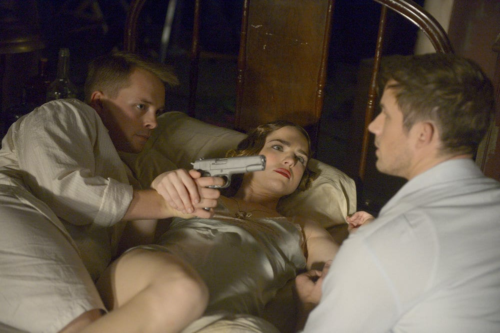 "TIMELESS -- ""Last Ride of Bonnie & Clyde"" Episode 108 -- Pictured: (l-r) Sam Strike as Clyde Barrow, Jacqueline Byers as Bonnie Parker, Matt Lanter as Wyatt Logan -- (Photo by: Sergei Bachlakov/NBC)"
