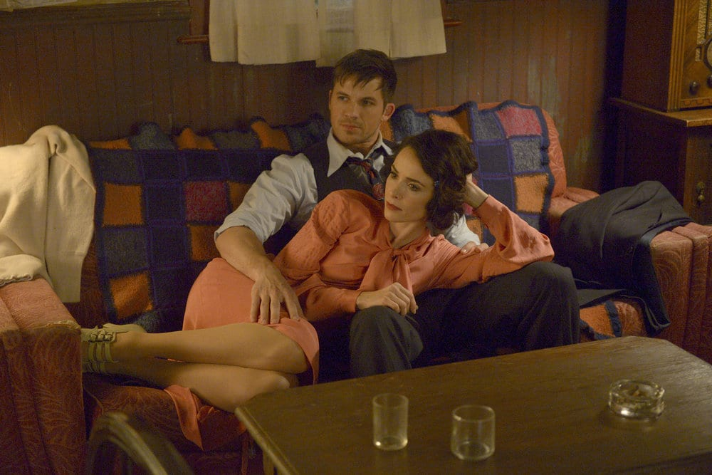 "TIMELESS -- ""Last Ride of Bonnie & Clyde"" Episode 108 -- Pictured: (l-r) Abigail Spencer as Lucy Preston, Matt Lanter as Wyatt Logan -- (Photo by: Sergei Bachlakov/NBC)"