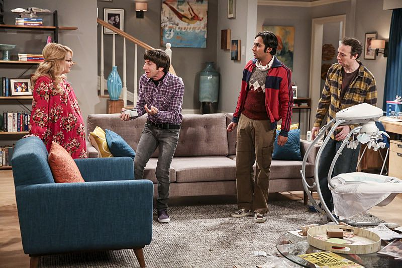 """The Property Division Collision"" -- Pictured: Bernadette (Melissa Rauch), Howard Wolowitz (Simon Helberg), Rajesh Koothrappali (Kunal Nayyar) and Stuart (Kevin Sussman).Sheldon and Leonard try to divvy up their shared belongings, but can't agree on anything. Also, Koothrappali and Stuart fight to be the most helpful during Bernadette's final weeks of pregnancy, on THE BIG BANG THEORY, Thursday, Dec. 1 (8:00-8:31 PM, ET/PT), on the CBS Television Network. Christopher Lloyd guest stars as Theodore. Photo: Michael Yarish/Warner Bros. Entertainment Inc. © 2016 WBEI. All rights reserved."