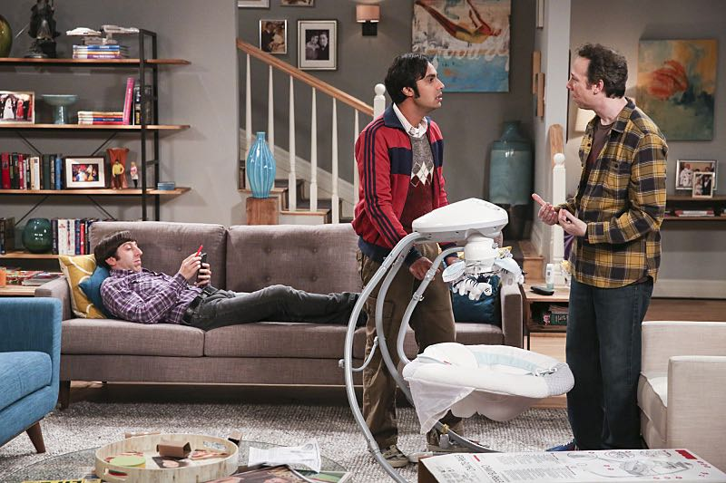 """The Property Division Collision"" -- Pictured: Howard Wolowitz (Simon Helberg), Rajesh Koothrappali (Kunal Nayyar) and Stuart (Kevin Sussman).Sheldon and Leonard try to divvy up their shared belongings, but can't agree on anything. Also, Koothrappali and Stuart fight to be the most helpful during Bernadette's final weeks of pregnancy, on THE BIG BANG THEORY, Thursday, Dec. 1 (8:00-8:31 PM, ET/PT), on the CBS Television Network. Christopher Lloyd guest stars as Theodore. Photo: Michael Yarish/Warner Bros. Entertainment Inc. © 2016 WBEI. All rights reserved."