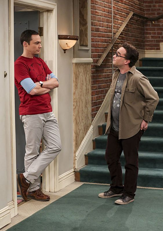 """The Property Division Collision"" -- Pictured: Sheldon Cooper (Jim Parsons) and Leonard Hofstadter (Johnny Galecki). Sheldon and Leonard try to divvy up their shared belongings, but can't agree on anything. Also, Koothrappali and Stuart fight to be the most helpful during Bernadette's final weeks of pregnancy, on THE BIG BANG THEORY, Thursday, Dec. 1 (8:00-8:31 PM, ET/PT), on the CBS Television Network. Christopher Lloyd guest stars as Theodore. Photo: Michael Yarish/Warner Bros. Entertainment Inc. © 2016 WBEI. All rights reserved."