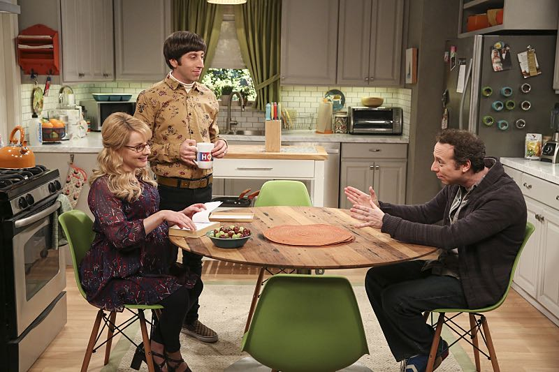 """The Property Division Collision"" -- Pictured: Bernadette (Melissa Rauch), Howard Wolowitz (Simon Helberg) and Stuart (Kevin Sussman).Sheldon and Leonard try to divvy up their shared belongings, but can't agree on anything. Also, Koothrappali and Stuart fight to be the most helpful during Bernadette's final weeks of pregnancy, on THE BIG BANG THEORY, Thursday, Dec. 1 (8:00-8:31 PM, ET/PT), on the CBS Television Network. Christopher Lloyd guest stars as Theodore. Photo: Michael Yarish/Warner Bros. Entertainment Inc. © 2016 WBEI. All rights reserved."