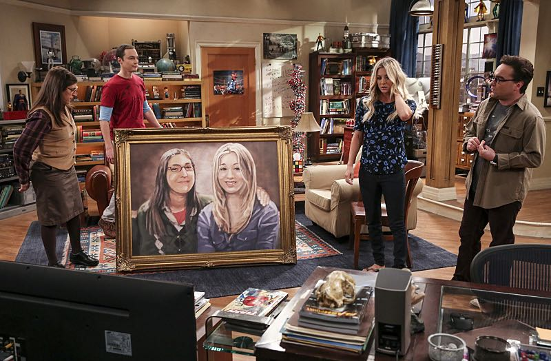 """The Property Division Collision"" -- Pictured: Amy Farrah Fowler (Mayim Bialik), Sheldon Cooper (Jim Parsons), Penny (Kaley Cuoco) and Leonard Hofstadter (Johnny Galecki). Sheldon and Leonard try to divvy up their shared belongings, but can't agree on anything. Also, Koothrappali and Stuart fight to be the most helpful during Bernadette's final weeks of pregnancy, on THE BIG BANG THEORY, Thursday, Dec. 1 (8:00-8:31 PM, ET/PT), on the CBS Television Network. Christopher Lloyd guest stars as Theodore. Photo: Michael Yarish/Warner Bros. Entertainment Inc. © 2016 WBEI. All rights reserved."