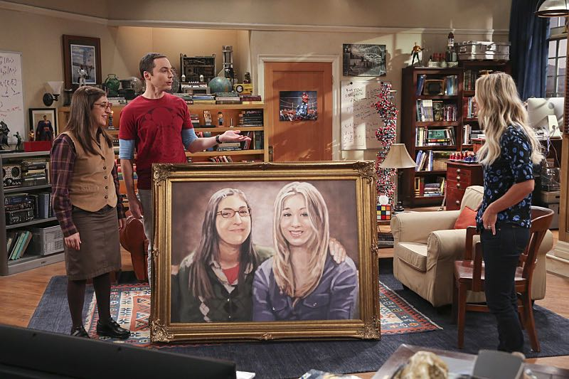 """The Property Division Collision"" -- Pictured: Amy Farrah Fowler (Mayim Bialik), Sheldon Cooper (Jim Parsons) and Penny (Kaley Cuoco). Sheldon and Leonard try to divvy up their shared belongings, but can't agree on anything. Also, Koothrappali and Stuart fight to be the most helpful during Bernadette's final weeks of pregnancy, on THE BIG BANG THEORY, Thursday, Dec. 1 (8:00-8:31 PM, ET/PT), on the CBS Television Network. Christopher Lloyd guest stars as Theodore. Photo: Michael Yarish/Warner Bros. Entertainment Inc. © 2016 WBEI. All rights reserved."