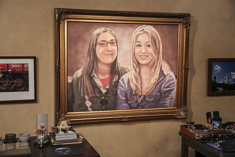 """The Property Division Collision"" -- Pictured: a portrait of Amy Farrah Fowler (Mayim Bialik) and Penny (Kaley Cuoco). Sheldon and Leonard try to divvy up their shared belongings, but can't agree on anything. Also, Koothrappali and Stuart fight to be the most helpful during Bernadette's final weeks of pregnancy, on THE BIG BANG THEORY, Thursday, Dec. 1 (8:00-8:31 PM, ET/PT), on the CBS Television Network. Christopher Lloyd guest stars as Theodore. Photo: Michael Yarish/Warner Bros. Entertainment Inc. © 2016 WBEI. All rights reserved."