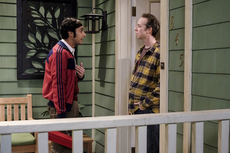 """The Property Division Collision"" -- Pictured: Rajesh Koothrappali (Kunal Nayyar) and Stuart (Kevin Sussman).Sheldon and Leonard try to divvy up their shared belongings, but can't agree on anything. Also, Koothrappali and Stuart fight to be the most helpful during Bernadette's final weeks of pregnancy, on THE BIG BANG THEORY, Thursday, Dec. 1 (8:00-8:31 PM, ET/PT), on the CBS Television Network. Christopher Lloyd guest stars as Theodore. Photo: Darren Michaels/Warner Bros. Entertainment Inc. © 2016 WBEI. All rights reserved."