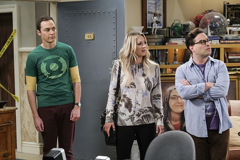 """The Property Division Collision"" -- Pictured: Sheldon Cooper (Jim Parsons), Penny (Kaley Cuoco) and Leonard Hofstadter (Johnny Galecki). Sheldon and Leonard try to divvy up their shared belongings, but can't agree on anything. Also, Koothrappali and Stuart fight to be the most helpful during Bernadette's final weeks of pregnancy, on THE BIG BANG THEORY, Thursday, Dec. 1 (8:00-8:31 PM, ET/PT), on the CBS Television Network. Christopher Lloyd guest stars as Theodore. Photo: Darren Michaels/Warner Bros. Entertainment Inc. © 2016 WBEI. All rights reserved."