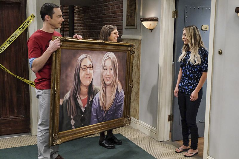 """The Property Division Collision"" -- Pictured: Sheldon Cooper (Jim Parsons), Amy Farrah Fowler (Mayim Bialik) and Penny (Kaley Cuoco). Sheldon and Leonard try to divvy up their shared belongings, but can't agree on anything. Also, Koothrappali and Stuart fight to be the most helpful during Bernadette's final weeks of pregnancy, on THE BIG BANG THEORY, Thursday, Dec. 1 (8:00-8:31 PM, ET/PT), on the CBS Television Network. Christopher Lloyd guest stars as Theodore. Photo: Darren Michaels/Warner Bros. Entertainment Inc. © 2016 WBEI. All rights reserved."