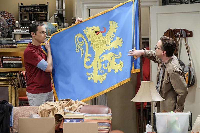 """The Property Division Collision"" -- Pictured: Sheldon Cooper (Jim Parsons) and Leonard Hofstadter (Johnny Galecki). Sheldon and Leonard try to divvy up their shared belongings, but can't agree on anything. Also, Koothrappali and Stuart fight to be the most helpful during Bernadette's final weeks of pregnancy, on THE BIG BANG THEORY, Thursday, Dec. 1 (8:00-8:31 PM, ET/PT), on the CBS Television Network. Christopher Lloyd guest stars as Theodore. Photo: Darren Michaels/Warner Bros. Entertainment Inc. © 2016 WBEI. All rights reserved."