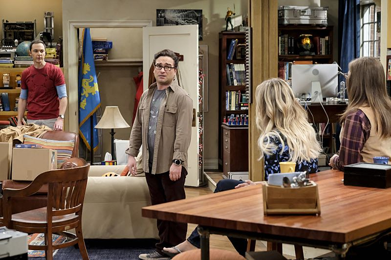 """The Property Division Collision"" -- Pictured: Sheldon Cooper (Jim Parsons), Leonard Hofstadter (Johnny Galecki), Penny (Kaley Cuoco) and Amy Farrah Fowler (Mayim Bialik). Sheldon and Leonard try to divvy up their shared belongings, but can't agree on anything. Also, Koothrappali and Stuart fight to be the most helpful during Bernadette's final weeks of pregnancy, on THE BIG BANG THEORY, Thursday, Dec. 1 (8:00-8:31 PM, ET/PT), on the CBS Television Network. Christopher Lloyd guest stars as Theodore. Photo: Darren Michaels/Warner Bros. Entertainment Inc. © 2016 WBEI. All rights reserved."