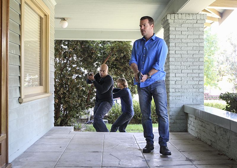 """Sirens"" -- Pictured: LL COOL J (Special Agent Sam Hanna), Eric Christian Olsen (LAPD Liaison Marty Deeks) and Chris O'Donnell (Special Agent G. Callen). After an unknown female assailant kills two men disguised as Sherriff's deputies in front of Callen's home, the NCIS team gets a new lead in the ongoing mole investigation. Also, Nell visits a prison to interview an inmate withholding information on the department's leak, on NCIS: LOS ANGELES, Sunday, Nov. 27 (8:30-9:30 PM, ET/8:00-9:00 PM, PT), on the CBS Television Network. Photo: Sonja Flemming/CBS ©2016 CBS Broadcasting, Inc. All Rights Reserved."