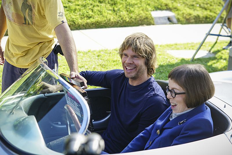 """Sirens"" -- Pictured Behind the Scenes: Eric Christian Olsen (LAPD Liaison Marty Deeks) and Linda Hunt (Henrietta ""Hetty"" Lange). After an unknown female assailant kills two men disguised as Sherriff's deputies in front of Callen's home, the NCIS team gets a new lead in the ongoing mole investigation. Also, Nell visits a prison to interview an inmate withholding information on the department's leak, on NCIS: LOS ANGELES, Sunday, Nov. 27 (8:30-9:30 PM, ET/8:00-9:00 PM, PT), on the CBS Television Network. Photo: Sonja Flemming/CBS ©2016 CBS Broadcasting, Inc. All Rights Reserved."