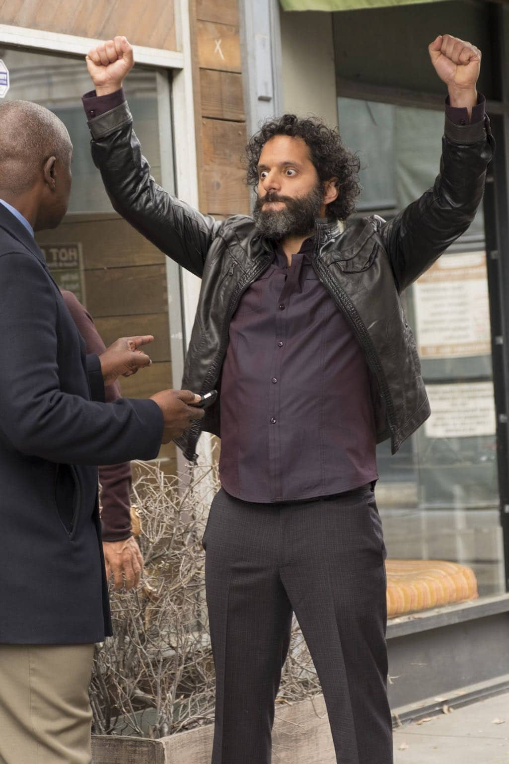 "BROOKLYN NINE-NINE: L-R: Guest star Andre Braugher and Jason Mantzoukas in the ""Mr. Santiago"" episode of BROOKLYN NINE-NINE airing Tuesday, Nov. 22 (8:00-8:31 PM ET/PT) on FOX.CR: John P Fleenor/FOX"