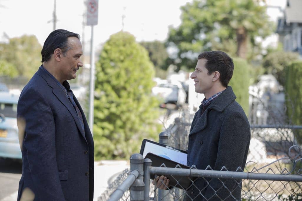 "BROOKLYN NINE-NINE: L-R: Guest star Jimmy Smits and Andy Samberg in the ""Mr. Santiago"" episode of BROOKLYN NINE-NINE airing Tuesday, Nov. 22 (8:00-8:31 PM ET/PT) on FOX.CR: John P Fleenor/FOX"