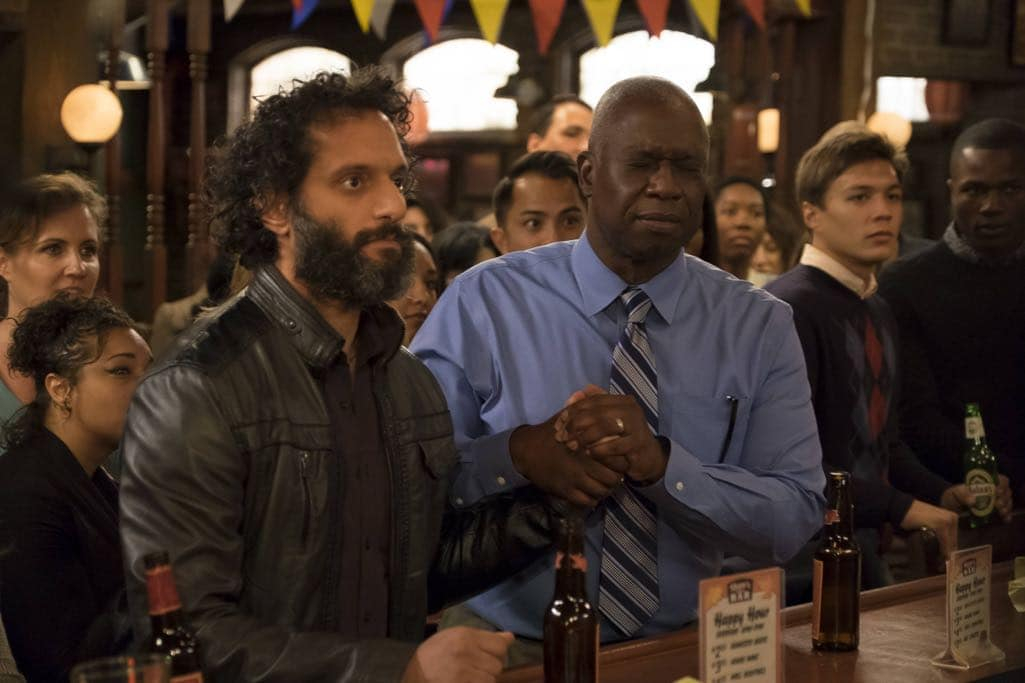 "BROOKLYN NINE-NINE: L-R: Guest star Jason Mantzoukas and Andre Braugher in the ""Mr. Santiago"" episode of BROOKLYN NINE-NINE airing Tuesday, Nov. 22 (8:00-8:31 PM ET/PT) on FOX.CR: John P Fleenor/FOX"