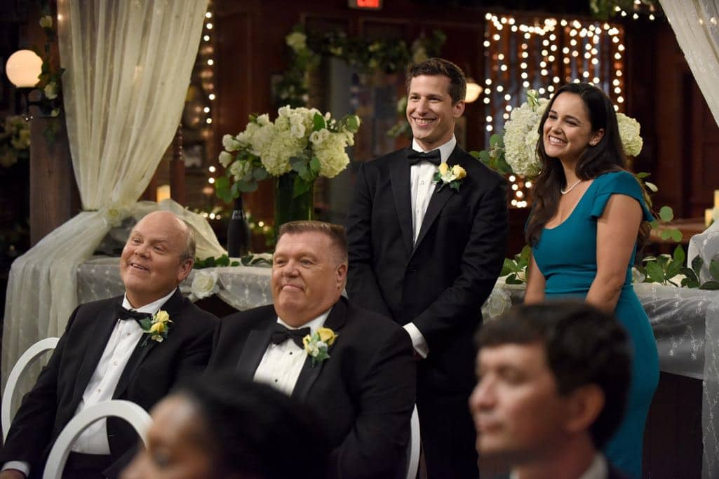 BROOKLYN NINE-NINE: L-R: Dirk Blocker, Joel McKinnon Miller, Andy Samberg and Melissa Fumero in the ???Monster In The Closet??? episode of BROOKLYN NINE-NINE airing Tuesday, Nov. 15 (8:00-8:31 PM ET/PT) on FOX. ©2016 Fox Broadcasting Co. Cr: FOX