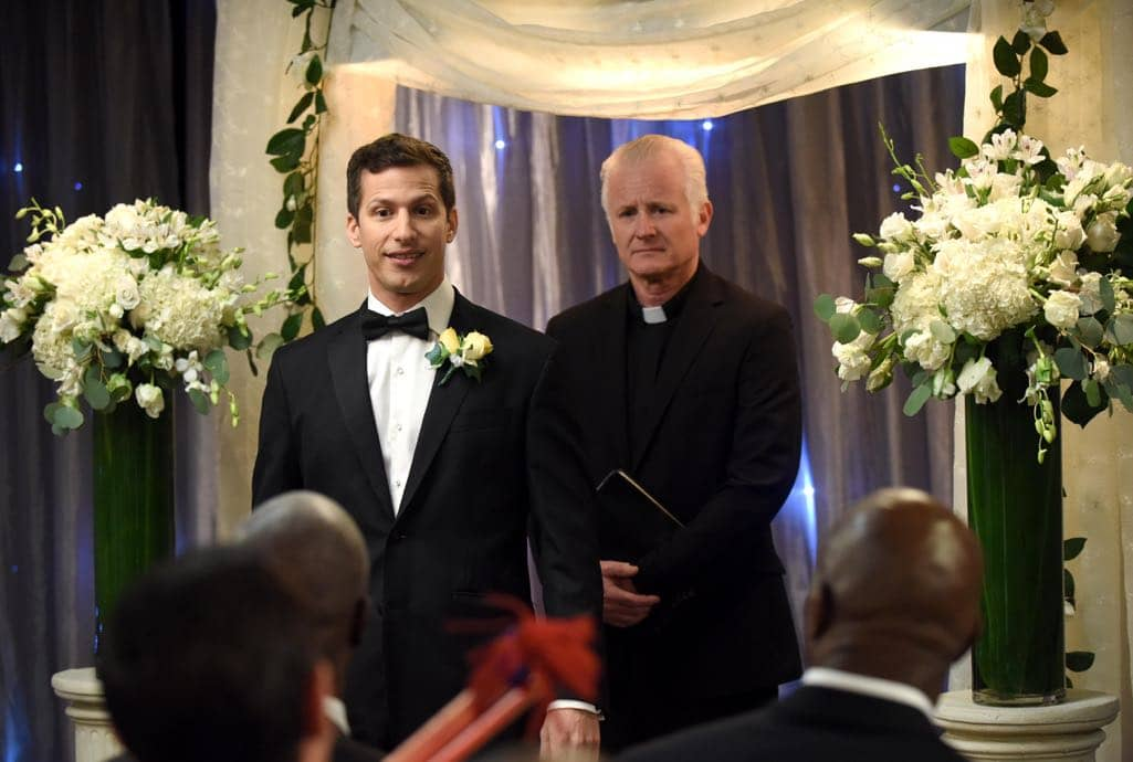 BROOKLYN NINE-NINE: Andy Samberg (L) in the ???Monster In The Closet??? episode of BROOKLYN NINE-NINE airing Tuesday, Nov. 15 (8:00-8:31 PM ET/PT) on FOX. ©2016 Fox Broadcasting Co. Cr: FOX