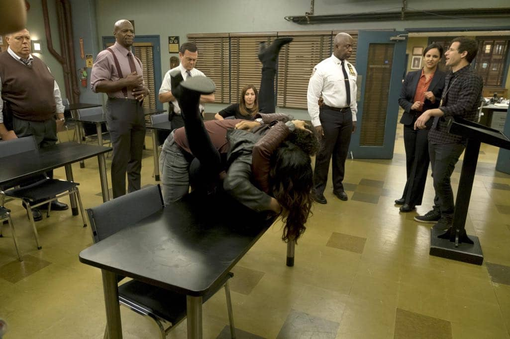 "BROOKLYN NINE-NINE: L-R: Joel McKinnon Miller, Terry Crews, Joe Lo Truglio, Chelsea Peretti, Andre Braugher, Melissa Fumero, Andy Samberg, Stephanie Beatriz and guest star Jason Mantzoukas in the ""Monster In The Closet"" episode of BROOKLYN NINE-NINE airing Tuesday, Nov. 15 (8:00-8:31 PM ET/PT) on FOX. ©2016 Fox Broadcasting Co. Cr: FOX"