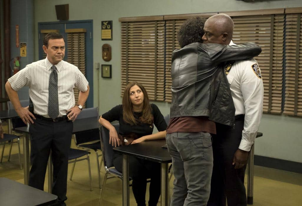 "BROOKLYN NINE-NINE: L-R: Joe Lo Truglio, Stephanie Beatriz, guest star Jason Mantzoukas and Andre Braugher in the ""Monster In The Closet"" episode of BROOKLYN NINE-NINE airing Tuesday, Nov. 15 (8:00-8:31 PM ET/PT) on FOX. ©2016 Fox Broadcasting Co. Cr: FOX"