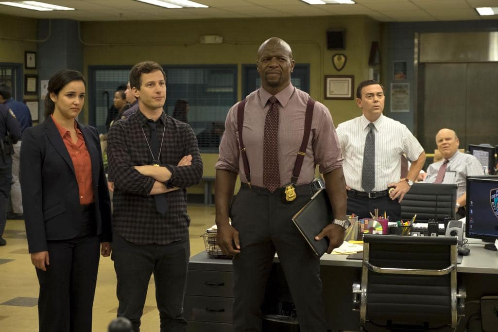 "BROOKLYN NINE-NINE: L-R: Melissa Fumero, Andy Samberg, Andre Braugher, Joe Lo Truglio and Dirk Blocker in the ""Monster In The Closet"" episode of BROOKLYN NINE-NINE airing Tuesday, Nov. 15 (8:00-8:31 PM ET/PT) on FOX. ©2016 Fox Broadcasting Co. Cr: FOX"