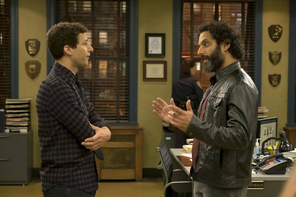 "BROOKLYN NINE-NINE: L-R: Andy Samberg and guest star Jason Mantzoukas in the ""Monster In The Closet"" episode of BROOKLYN NINE-NINE airing Tuesday, Nov. 15 (8:00-8:31 PM ET/PT) on FOX. ©2016 Fox Broadcasting Co. Cr: FOX"