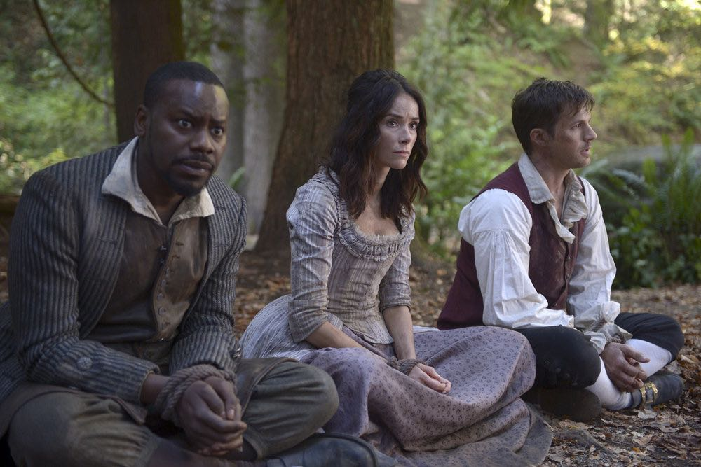 "TIMELESS -- ""Stranded"" Episode 106 -- Pictured: (l-r) Malcolm Barrett as Rufus Carlin, Abigail Spencer as Lucy Preston, Matt Lanter as Wyatt Logan -- (Photo by: Sergei Bachlakov/NBC)"