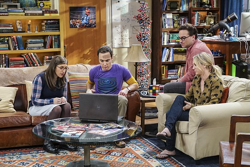 """The Geology Elevation"" -- Pictured: Amy Farrah Fowler (Mayim Bialik), Sheldon Cooper (Jim Parsons), Leonard Hofstadter (Johnny Galecki) and Penny (Kaley Cuoco). When Bert (Brian Posehn), a Caltech geologist, wins the MacArthur Genius fellowship, Sheldon is overcome with jealousy. Also, Wolowitz finds an old remote control Stephen Hawking action figure he invented, on THE BIG BANG THEORY, Thursday, Nov. 17 (8:00-8:31 PM, ET/PT), on the CBS Television Network. Stephen Hawking returns to guest star as himself. Photo: Monty Brinton/CBS ©2016 CBS Broadcasting, Inc. All Rights Reserved."