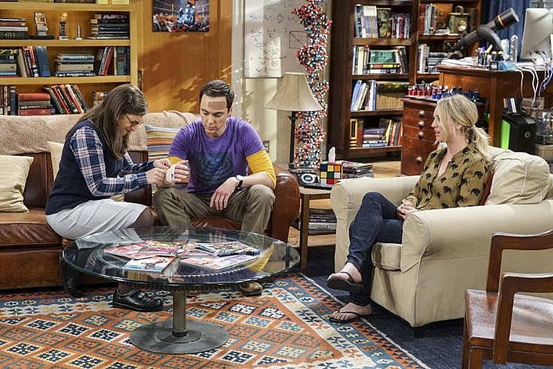 """The Geology Elevation"" -- Pictured: Amy Farrah Fowler (Mayim Bialik), Sheldon Cooper (Jim Parsons) and Penny (Kaley Cuoco). When Bert (Brian Posehn), a Caltech geologist, wins the MacArthur Genius fellowship, Sheldon is overcome with jealousy. Also, Wolowitz finds an old remote control Stephen Hawking action figure he invented, on THE BIG BANG THEORY, Thursday, Nov. 17 (8:00-8:31 PM, ET/PT), on the CBS Television Network. Stephen Hawking returns to guest star as himself. Photo: Monty Brinton/CBS ©2016 CBS Broadcasting, Inc. All Rights Reserved."