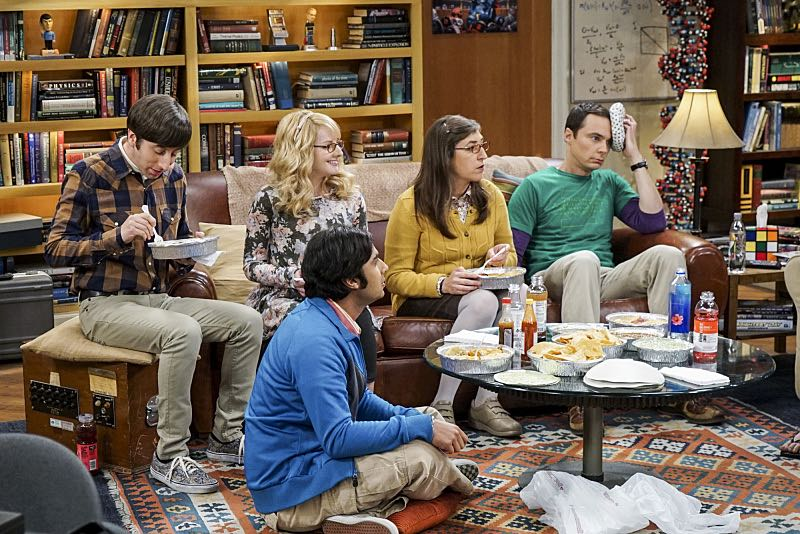 """The Geology Elevation"" -- Pictured: Howard Wolowitz (Simon Helberg), Bernadette (Melissa Rauch), Rajesh Koothrappali (Kunal Nayyar), Amy Farrah Fowler (Mayim Bialik) and Sheldon Cooper (Jim Parsons). When Bert (Brian Posehn), a Caltech geologist, wins the MacArthur Genius fellowship, Sheldon is overcome with jealousy. Also, Wolowitz finds an old remote control Stephen Hawking action figure he invented, on THE BIG BANG THEORY, Thursday, Nov. 17 (8:00-8:31 PM, ET/PT), on the CBS Television Network. Stephen Hawking returns to guest star as himself. Photo: Monty Brinton/CBS ©2016 CBS Broadcasting, Inc. All Rights Reserved."