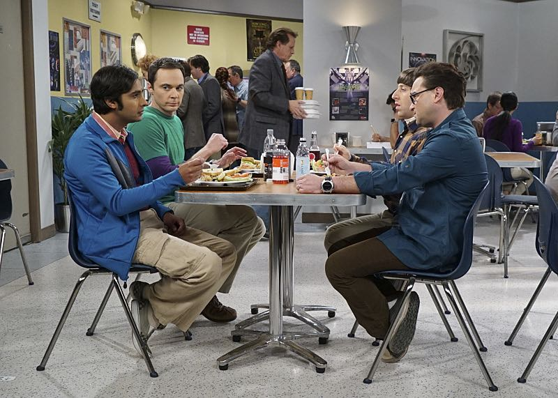 """The Geology Elevation"" -- Pictured: Rajesh Koothrappali (Kunal Nayyar), Sheldon Cooper (Jim Parsons), Howard Wolowitz (Simon Helberg) and Leonard Hofstadter (Johnny Galecki). When Bert (Brian Posehn), a Caltech geologist, wins the MacArthur Genius fellowship, Sheldon is overcome with jealousy. Also, Wolowitz finds an old remote control Stephen Hawking action figure he invented, on THE BIG BANG THEORY, Thursday, Nov. 17 (8:00-8:31 PM, ET/PT), on the CBS Television Network. Stephen Hawking returns to guest star as himself. Photo: Monty Brinton/CBS ©2016 CBS Broadcasting, Inc. All Rights Reserved."