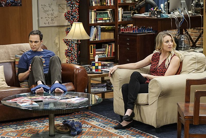 """The Geology Elevation"" -- Pictured: Sheldon Cooper (Jim Parsons) and Penny (Kaley Cuoco). When Bert (Brian Posehn), a Caltech geologist, wins the MacArthur Genius fellowship, Sheldon is overcome with jealousy. Also, Wolowitz finds an old remote control Stephen Hawking action figure he invented, on THE BIG BANG THEORY, Thursday, Nov. 17 (8:00-8:31 PM, ET/PT), on the CBS Television Network. Stephen Hawking returns to guest star as himself. Photo: Monty Brinton/CBS ©2016 CBS Broadcasting, Inc. All Rights Reserved."