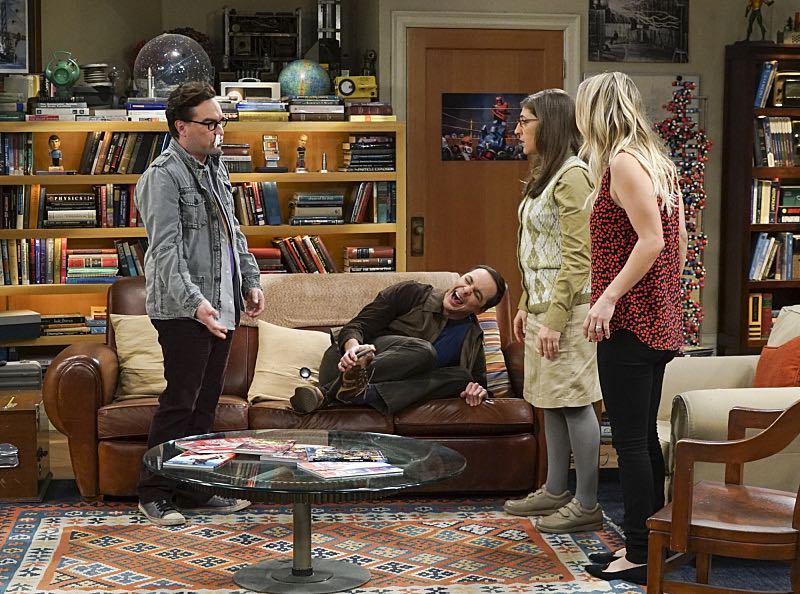 """The Geology Elevation"" -- Pictured: Leonard Hofstadter (Johnny Galecki), Sheldon Cooper (Jim Parsons), Amy Farrah Fowler (Mayim Bialik) and Penny (Kaley Cuoco). When Bert (Brian Posehn), a Caltech geologist, wins the MacArthur Genius fellowship, Sheldon is overcome with jealousy. Also, Wolowitz finds an old remote control Stephen Hawking action figure he invented, on THE BIG BANG THEORY, Thursday, Nov. 17 (8:00-8:31 PM, ET/PT), on the CBS Television Network. Stephen Hawking returns to guest star as himself. Photo: Monty Brinton/CBS ©2016 CBS Broadcasting, Inc. All Rights Reserved."